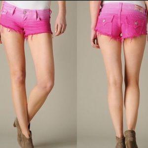 True Religion pink jean shorts. Ombré
